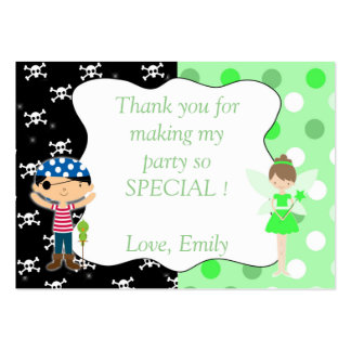 Pirate Fairy Thank You Tag Label Lime Green Skulls Pack Of Chubby Business Cards