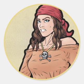 Pirate -- Female Classic Round Sticker