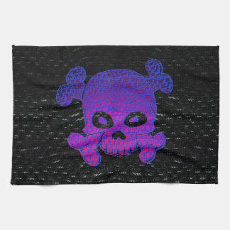 Pirate Flag Custom Purple Fade Blue bkg Tea Towel