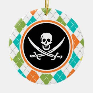 Pirate Flag on Colorful Argyle Pattern Round Ceramic Decoration