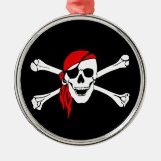 Pirate Flag Skull and Crossbones Jolly Roger Silver-Colored Round Decoration