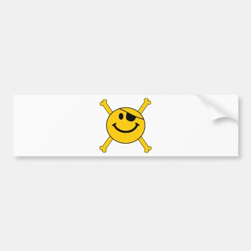 Pirate flag Smiley Bumper Stickers