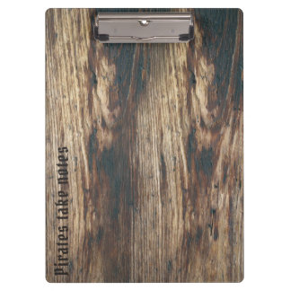 Pirate font custom text woodgrain clipboard