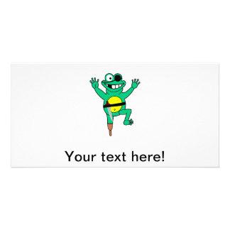 Pirate frog cartoon photo cards