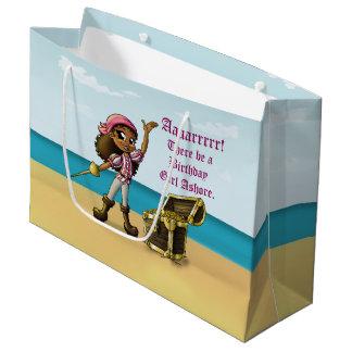 """Pirate Girl Birthday Gift Bag - Large, Glossy Large Gift Bag"
