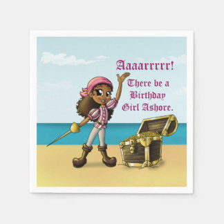 """Pirate Girl Birthday Paper Napkins"" Disposable Serviettes"