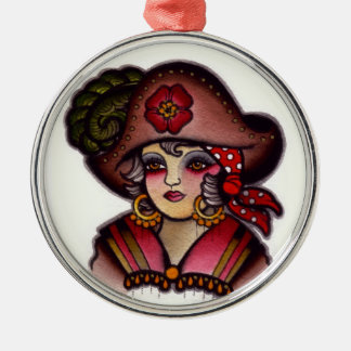 Pirate girl christmas ornament