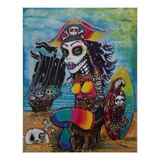 Pirate Girl - Surfs Up Poster
