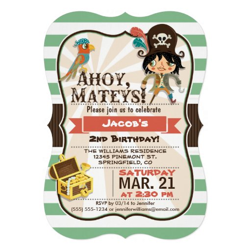 Pirate; Green, Orange, & Brown Birthday Party Custom Invitations