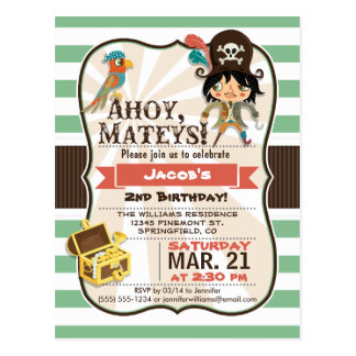 Pirate; Green, Orange, & Brown Birthday Party Post Card