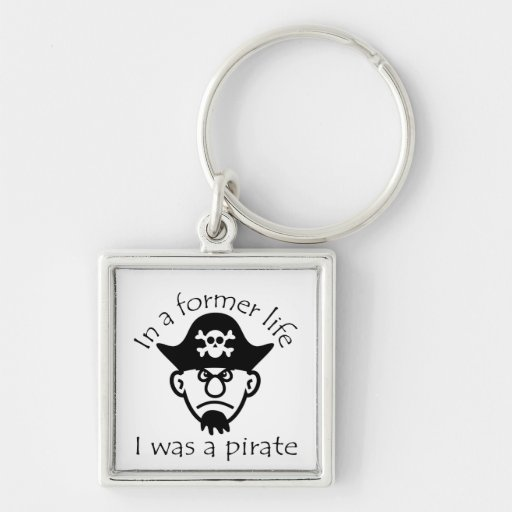 Pirate in Former Life Silver-Colored Square Key Ring