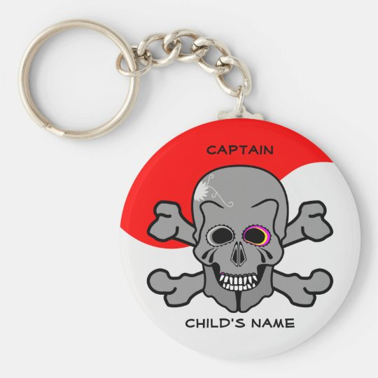 Pirate, Jolly Roger Basic Round Button Key Ring