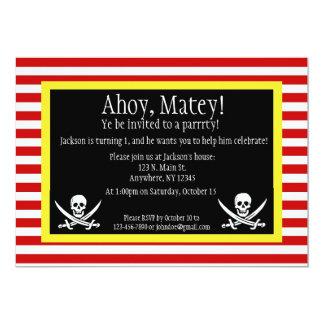 "Pirate Jolly Roger Birthday Invitation 5"" X 7"" Invitation Card"