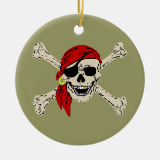 Pirate Jolly Roger Round Ceramic Decoration