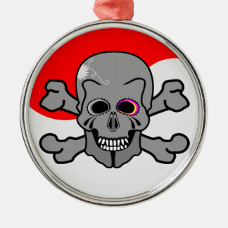 Pirate, Jolly Roger Silver-Colored Round Decoration