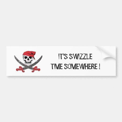 Pirate Jolly Roger Swizzle Bumper Sticker
