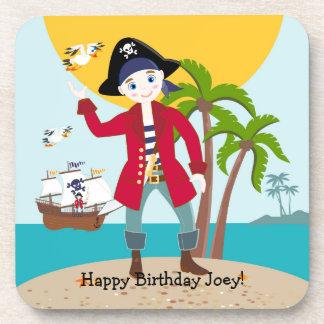 Pirate kid birthday party drink coaster