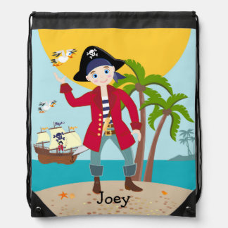 Pirate kid birthday party drawstring bags