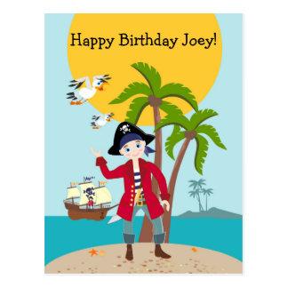 Pirate kid birthday party postcard