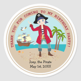 Pirate kid birthday party round sticker