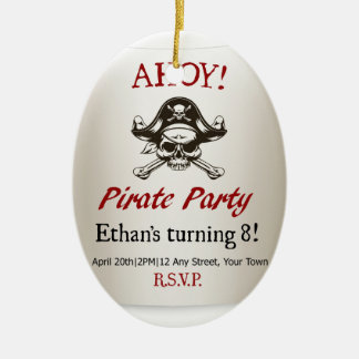 Pirate Kids Birthday Party Invite Template Christmas Ornament