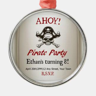 Pirate Kids Birthday Party Invite Template Christmas Ornament
