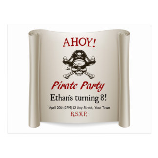 Pirate Kids Birthday Party Invite Template Postcard