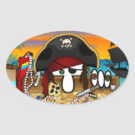 Pirate Kilroy Oval Sticker