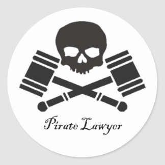 Pirate Lawyer Round Sticker