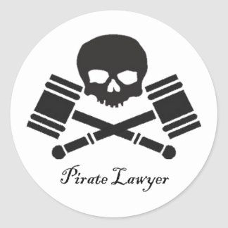 Pirate Lawyer Round Sticker w/ Border
