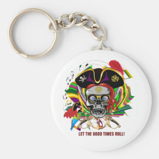 Pirate Let the good times roll! Basic Round Button Key Ring