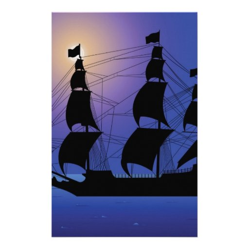 pirate life ship at sea stationery paper