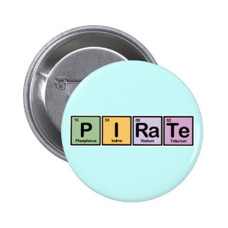 Pirate made of Elements 6 Cm Round Badge