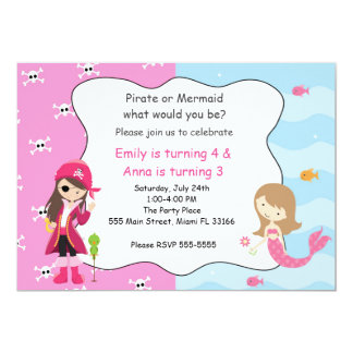 Pirate Mermaid Girl Birthday Party Invitation