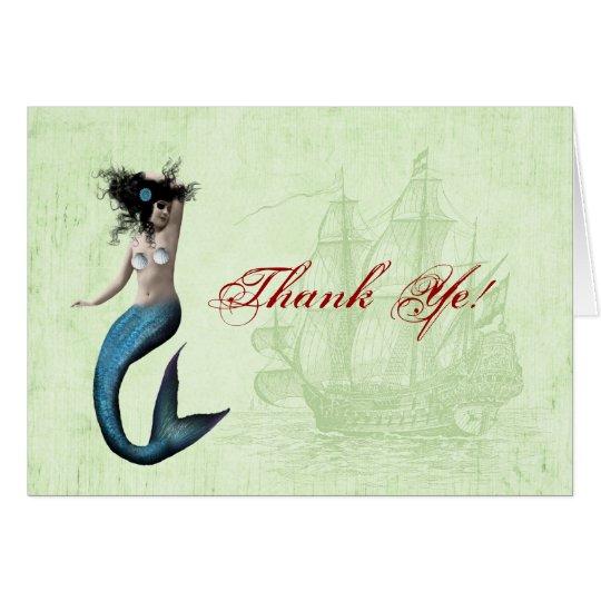 Pirate Mermaid Thank You Card