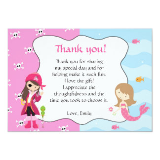 Pirate Mermaid Thank You Card Note