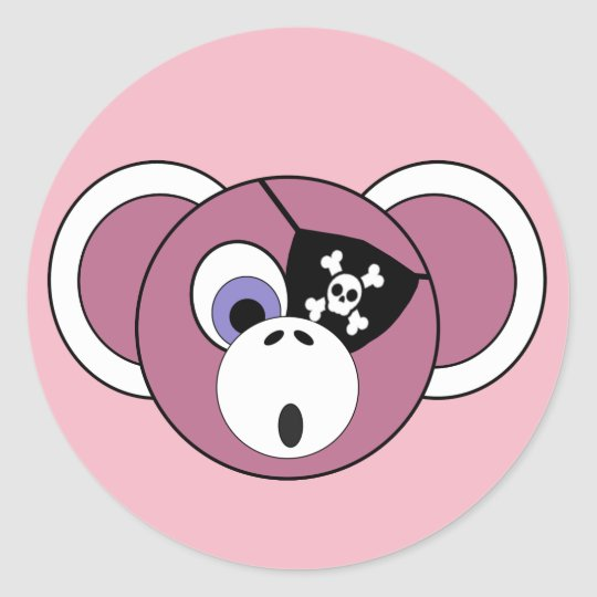 Pirate Monkey Pink Girly Jungle Animal Eyepatch Classic Round Sticker