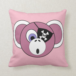 Pirate Monkey Pink Girly Jungle Animal Eyepatch Throw Pillow