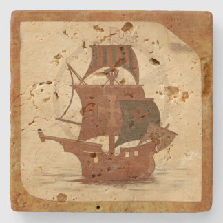 Pirate Mystery Ship Stone Coaster