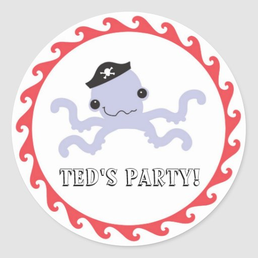 Pirate Octopus Favor Sticker