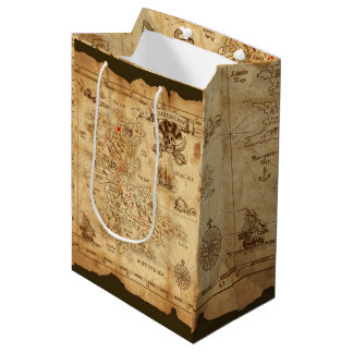 Pirate Old Vintage Treasure Map Birthday Party Medium Gift Bag
