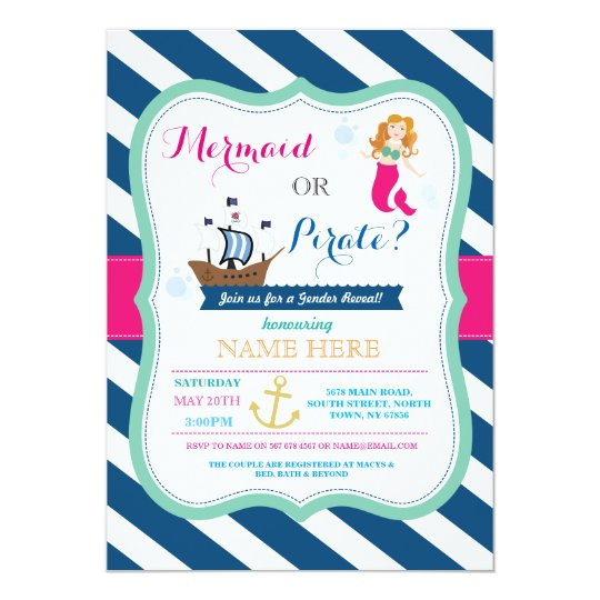 Pirate or Mermaid Baby Shower Reveal Invite
