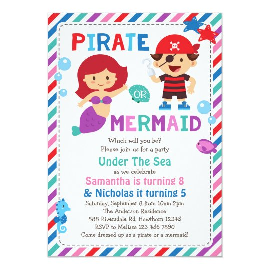 Pirate or Mermaid Invitation, Under the sea party