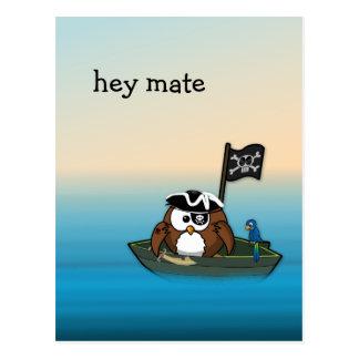 pirate owl - birthday party postcard