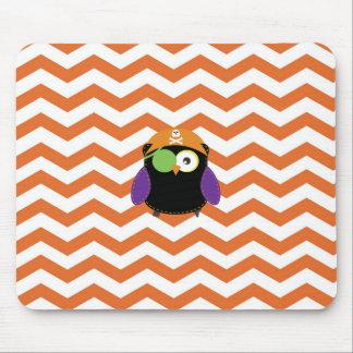 Pirate Owl with Orange Chevron Pattern Mousepad