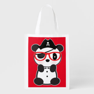 Pirate Panda Bear-Eye Patch Pirate Leon The Panda Reusable Grocery Bag
