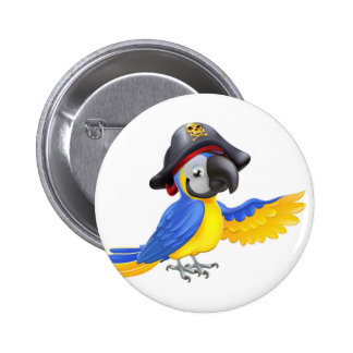 Pirate Parrot Illustration Pinback Buttons