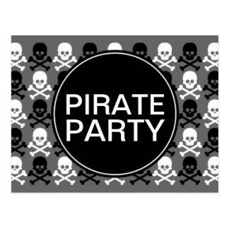 pirate party center skull stripe postcard