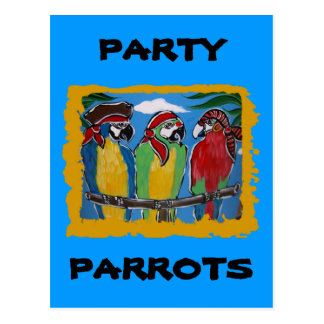 Pirate Party  Parrots Postcard