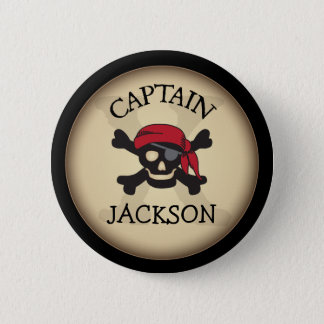 Pirate Party Personalized Captain Button
